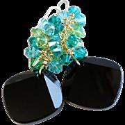 SALE Swarovski Crystal Metro Cut Statement Earrings In Black, Teal and Peridot Green Shades