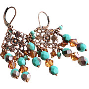 Copper and Turquoise Colored Chandelier Earrings With Swarovski Crystals, Fire Polished Glass