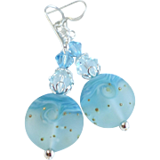 Blue Waves Lampwork Earrings With Swarovski Crystal Accents On Sterling Silver