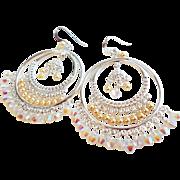 SOLD Swarovski Crystal and Swarovski Faux Pearl Chandelier Earrings