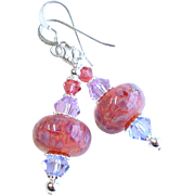 Pink and Purple Boro Glass Dangle Earrings