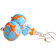 Orange and Aqua Blue Floral Lampwork Earrings with Swarovski Crystals