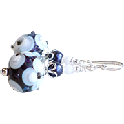 Purple and White Floral Lampwork Earrings