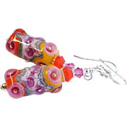 Orange and Pink Lampwork Earrings With Swarovski Crystals