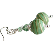 Sage Green and Cream Lampwork Glass Earrings With Swarovski Crystals and Sterling Silver Ear W