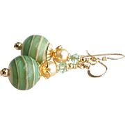 Sage Green and Cream Lampwork Earrings With 14KT Gold Filled Ear Wires