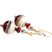 Dark Red, Cream and Gray Lampwork Earrings With Swarovski Crystals and 14KT Gold Filled Ear Wi