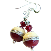 Dark Red, Cream and Gray Lampwork Earrings With Swarovski Crystals and Sterling Silver Ear Wir
