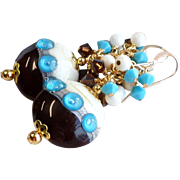 Dark Brown and Turquoise Lampwork Earrings With Swarovski Crystals