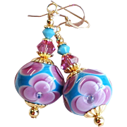 Pink and Turquoise Blue Floral Lampwork Earrings
