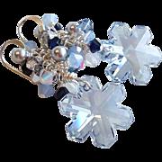 Swarovski Crystal Snowflake Earrings In Soft Blue Shade