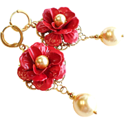 SOLD Red Enamel Rose Earrings With Gold Swarovski Faux Pearls