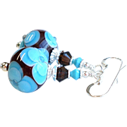 Turquoise Blue and Dark Brown Floral Lampwork Earrings