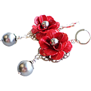 SOLD Red Enamel Flower Earrings With Gray Silver Faux Pearls