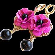 SOLD Hot Fuchsia Pink Enamel Rose Earrings With Black Swarovski Faux Pearls