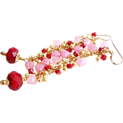 Red and Pink Long Crystal and Pearl Earrings With Pink Glass Hearts