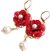 SOLD Red Enamel Rose Flower Earrings With White Swarovski Faux Pearls
