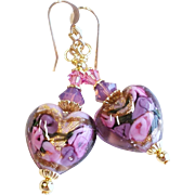 Venetian Glass Heart Bead Earrings In Purple and Pink