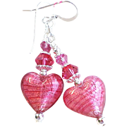Venetian Glass Heart Beads With Silver Foil and Pink Glass