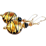 SOLD Venetian Glass Bead Earrings With Black, Gold and Copper Accents