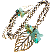Aged Finish Brass Leaf Necklace with Swarovski Crystals and Czech Glass Accents - Earrings Inc