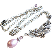 Aged Silver Brass Finished Floral Motif Necklace With Swarovski Faux Pearls and Crystals