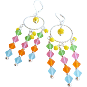 Bright Colored Matte Czech Crystal Chandelier Earrings