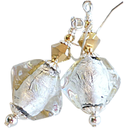 SALE PENDING 22KT Gold and Silver Foil Venetian Glass Bead Earrings With Swarovski Crystals