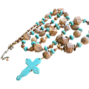 38 Inch Long Picture Jasper Necklace With Turquoise Dyed Magnesite Cross Pendant