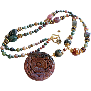 30 Inch Long Gemstone Necklace of Fancy Agate In Green, Brownish Orange, Purple and More