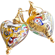 Klimt Inspired Venetian 22KT Gold Foil Heart Glass Earrings
