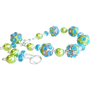 Blue and Green Lampwork Bracelet With Matching Earrings