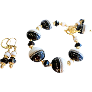 Black and White Lampwork Bracelet and Earrings Set