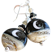 Moon and Night Sky Lampwork Earrings With Sterling Silver