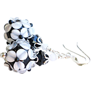 Black and White Floral Lampwork Earrings