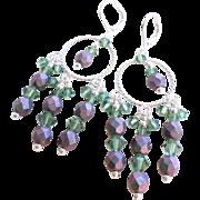 Swarovski Crystal Chandelier Earrings in Purple and Green With Czech Fire Polished Glass