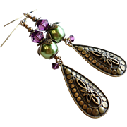 SOLD Purple and Green Swarovski Crystal and Glass Pearl Long Aged Brass Finished Dangle Earrin
