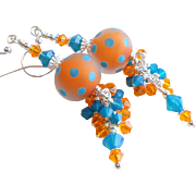 Frosted Lampwork Cluster Earrings In Orange and Blue