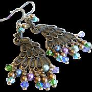 SOLD Aged Brass Peacock Swarovski Crystal Chandelier Earrings