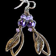 SOLD Purple Swarovski Crystal and Glass Pearl Brass Leaf Dangle Earrings