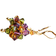 SOLD Swarovski Crystal Cluster Ball Earrings In Amethyst, Topaz and Olive