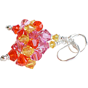 SOLD Swarovski Crystal Cluster Ball Earrings In Orange, Yellow and Pink