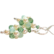SOLD Green and Cream Swarovski Crystal and Faux Pearl Cluster Ball Earrings