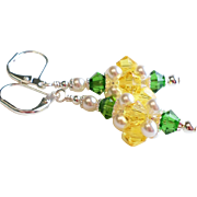 Medium Sized Swarovski Crystal and Faux Pearl Cluster Ball Earrings In Yellow, Green and White