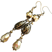 SOLD Aged Brass Long Earrings With Swarovski Gold Faux Pearls and Crystals