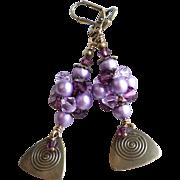 Purple Shades Swarovski Crystal and Faux Pearl Brass Dangle Earrings