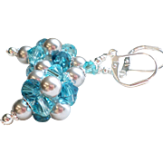 Swarovski Crystal and Faux Pearl Cluster Ball Earrings In Silver and Blues