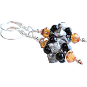 Medium Sized Swarovski Crystal Cluster Bead Earrings In Black, Gray and Copper