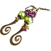 Brass Long Dangle Earrings With Fuchsia Swarovski Crystals and Lime Glass Pearls