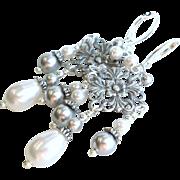 SOLD Aged Silver Finished Brass Swarovski Faux Pearl Chandelier Earrings